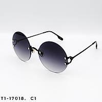 Круглые женские солнцезащитные очки. Защита UV400. Цвет черный с градиентом