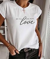 Летняя женская футболка стильная с хлопка черная бежевая белая 42-46 с принтом лав