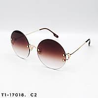 Круглые женские солнцезащитные очки. Защита UV400. Цвет коричневый с градиентом