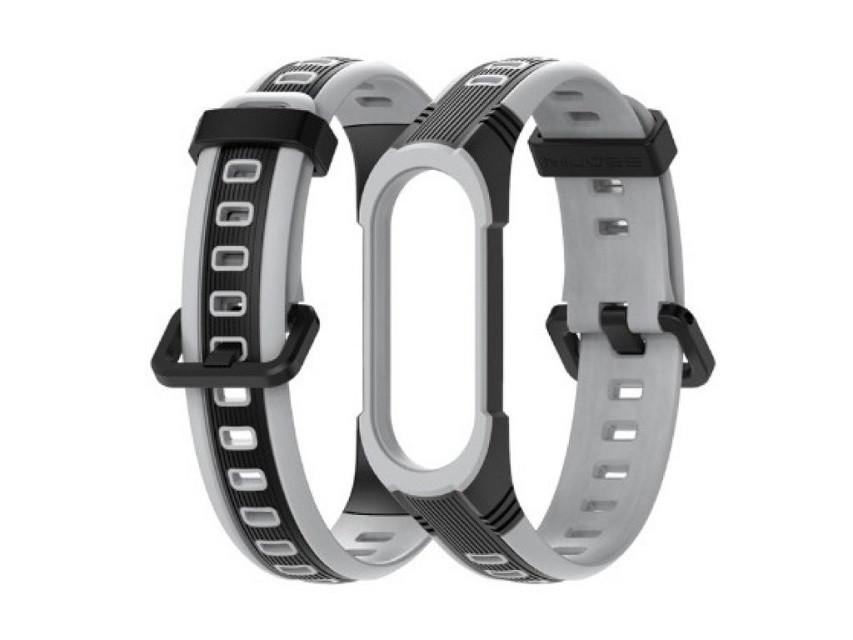 Ремінець для фітнес-браслета Xiaomi Mi Band 5 і 6 Sport 2, Black with gray
