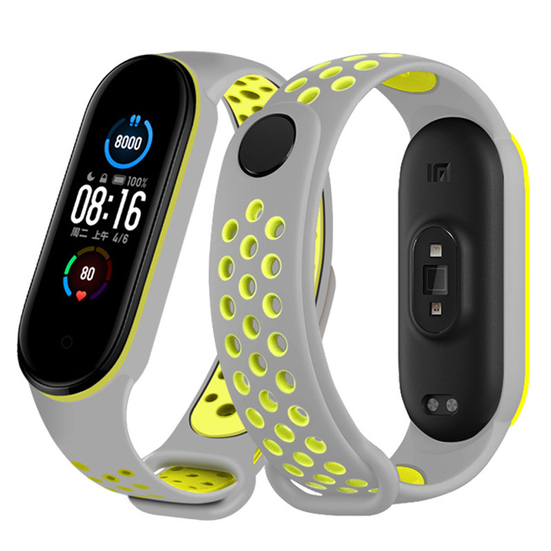 Ремінець Nike Design Bracelet для фітнес-браслета Xiaomi Mi Band 5, Gray with yellow