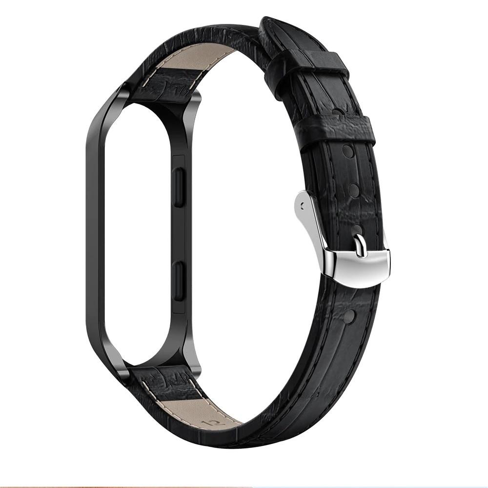 Ремешок для фитнес браслета Steel-Leather design bracelet for Xiaomi Mi Band 3/4 Black