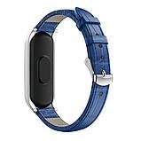 Ремінець для фітнес браслета Steel-Leather design bracelet for Xiaomi Mi Band 3/4 BLue, фото 2