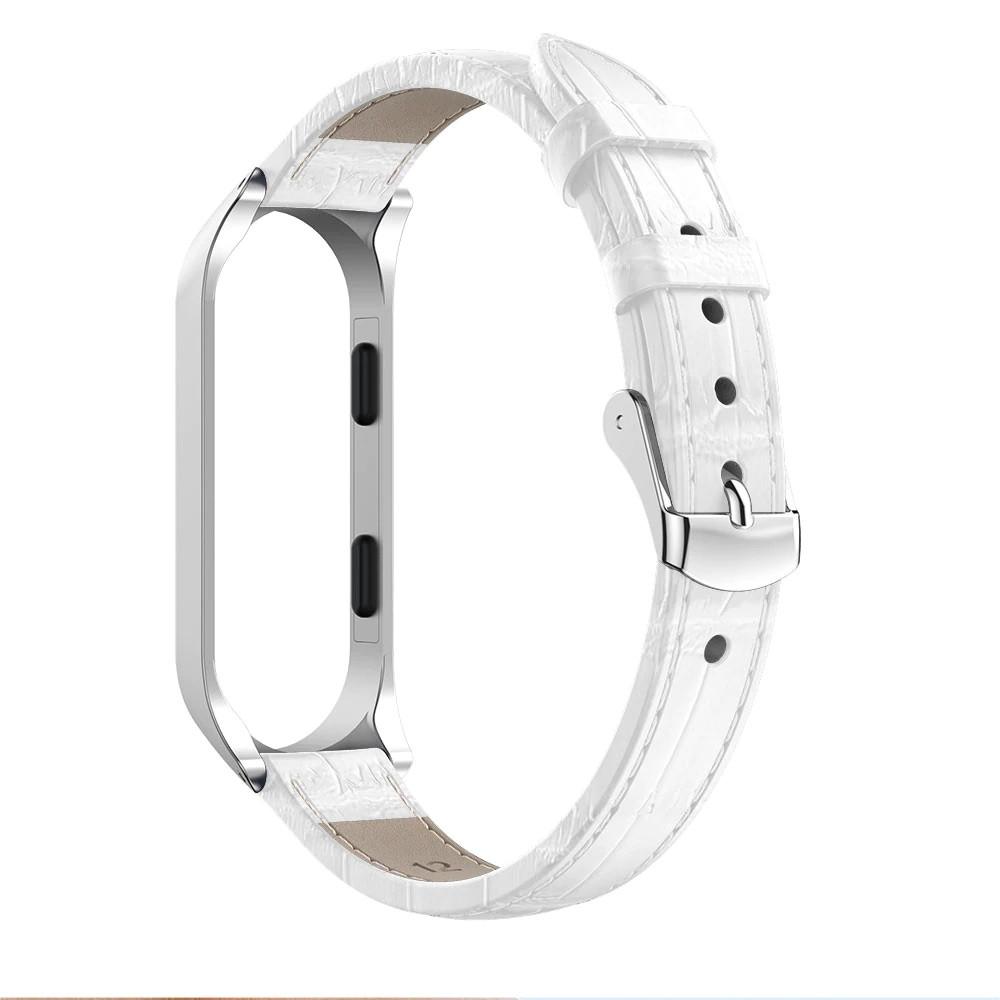 Ремешок для фитнес браслета Steel-Leather design bracelet for Xiaomi Mi Band 5 и 6 Crocodile White
