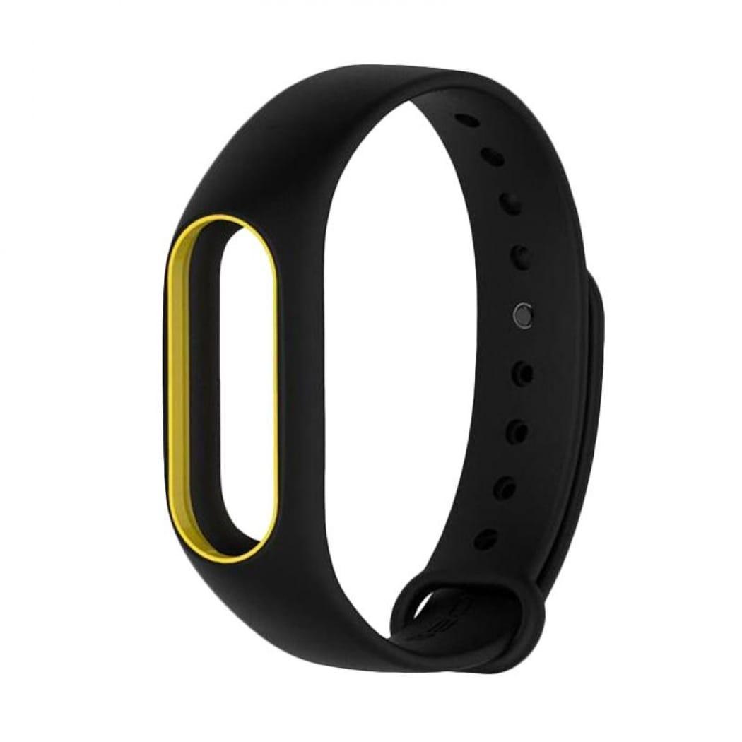 Ремешок TPU для фитнес-браслета Xiaomi Mi Band 2 Black with yellow