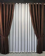 Готовие штори на люверсах с подхватами Ширина 2*2м высота 2.7м