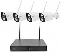Уличный Комплект Видеонаблюдения на 4 камеры беспроводной WiFi DVR 6674 набор система видеонаблюдения