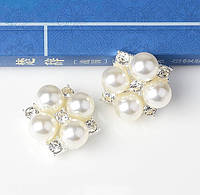 Міні брошка-декор 4 перлини зі стразами 2*2см