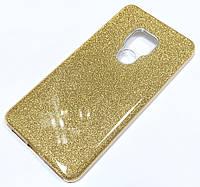 Чохол силіконовий Shiny з блискітками для Huawei Mate 20 Pro Золотистий