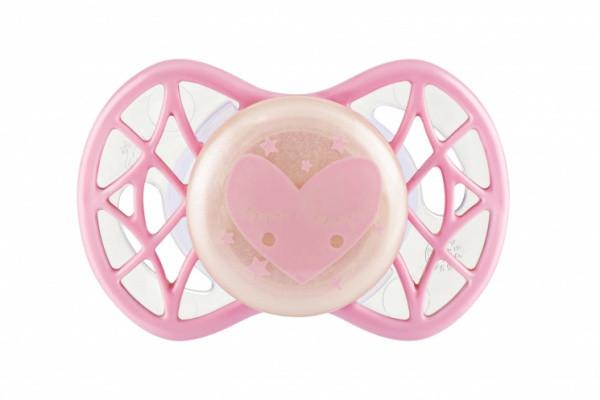 Пустышка для девочки от 0-мес, симетричная (светится в темноте),  Air55 Cool, Nuvita