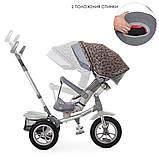 """Дитячий триколісний велосипед коляска з фарою і поворотним сидінням Turbotrike 4058 сірий """"зірки"""", фото 5"""