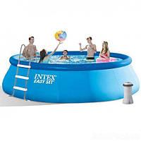 Надувной бассейн Intex 26166, 457х107 см, с насосом, Easy Set Pool, Голубой (ip100106)