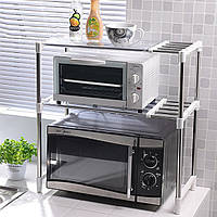 Полка органайзер для микроволновки Wellamart кухонный стеллаж раздвижной с крючками на три полки для СВЧ печи