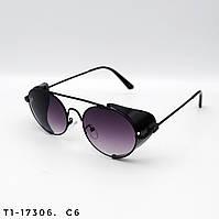 Солнцезащитные очки в стиле Стимпанк. Защита UV400. Цвет черный с градиентом