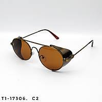 Солнцезащитные очки в стиле Стимпанк. Защита UV400. Цвет коричневый