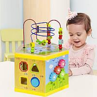 Развивающая деревянная игрушка логический куб для детей Бизикуб Wood Toys пальчиковый лабиринт- сортер- пазлы