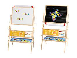 Дитячий мольберт, двостороння магнітна дошка 3 в 1 для малювання крейдою і маркерами PlayTive