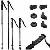 Трекінгові палиці EUROROVER для нордичної ходьби + 4 наконечники black Польща