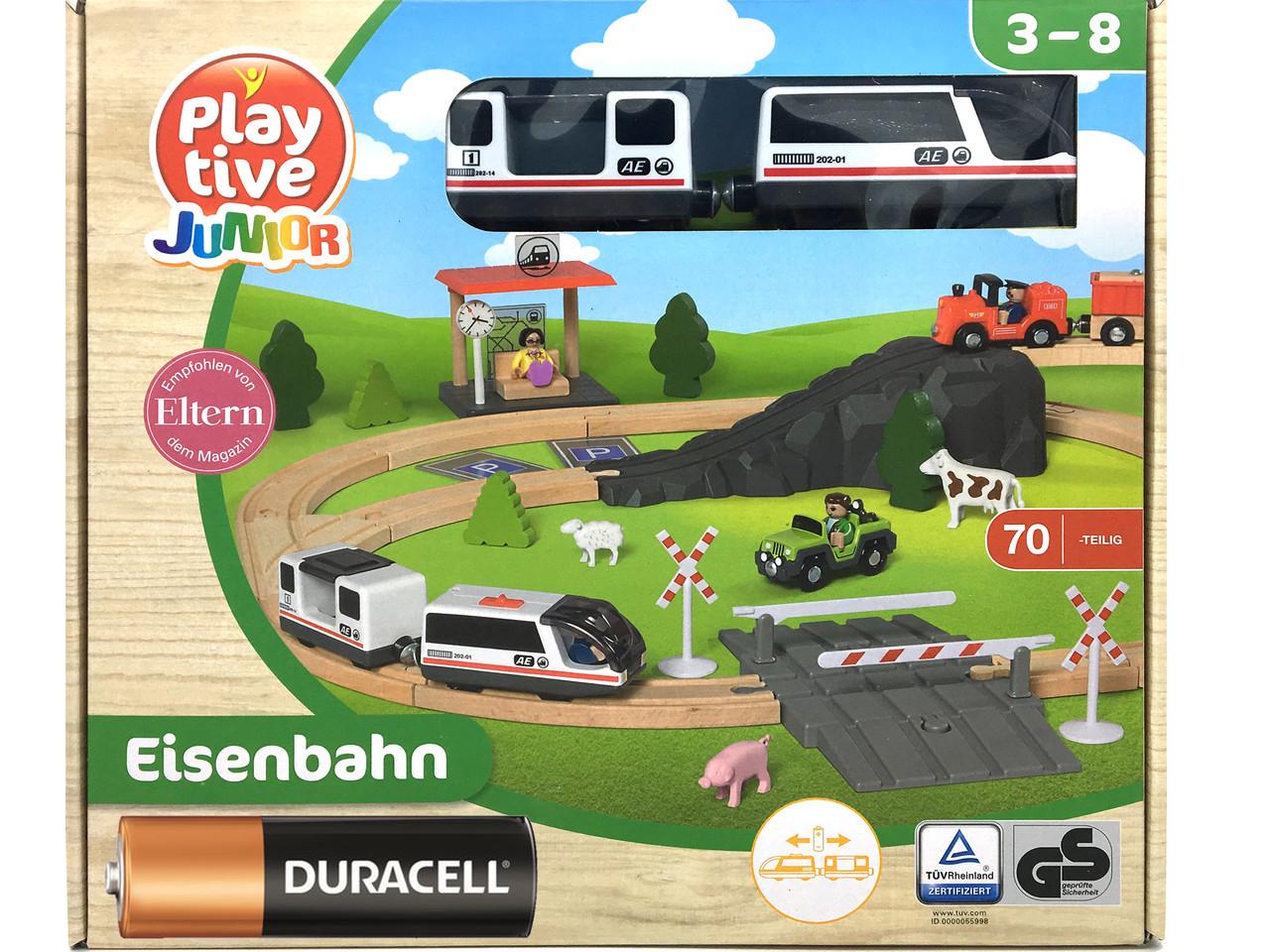 Дитяча дерев'яна залізниця PlayTive Junior (70 елементів) Німеччина