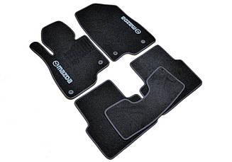 Ворсовые коврики для Mazda 3 (2013-) Текстильные в салон авто (чёрный) (StingrayUA.)