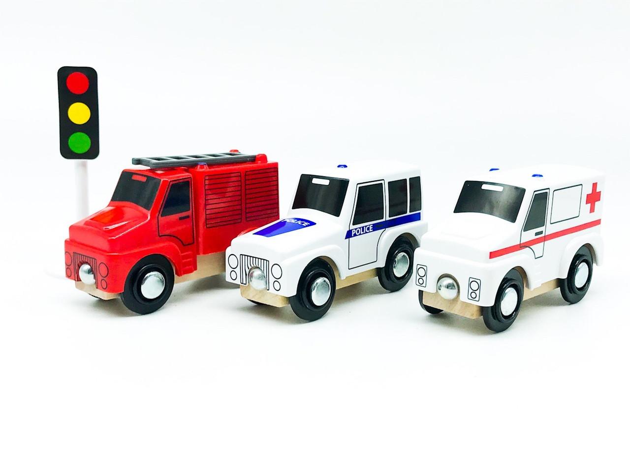 Набір машинок для дерев'яної залізниці PlayTive Ikea Brio Рятувальні машини 3 шт