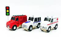 Набір машинок для дерев'яної залізниці PlayTive Ikea Brio Рятувальні машини 3 шт, фото 1