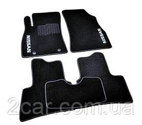 Ворсовые коврики для Nissan Qashqai (7m) (3ряда) (2008-) Текстильные в салон авто (чёрный) (StingrayUA.)