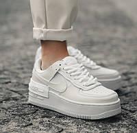 Женские кроссовки Air Force 1 Shadow весна-осень демисезонные белые. Живое фото. Реплика