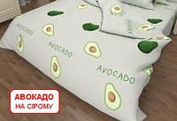 Двоспальний підодіяльник з бязі - Авокадо на сірому