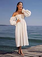 Женское Платье миди лен