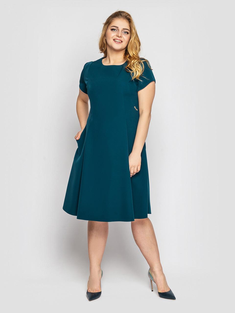 Батальное платье с карманами 48,50,52,54,56,58 размер