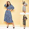Р 50-56 Платье рубашка миди в цветочный принт Батал 23557