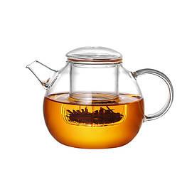 Стеклянный боросиликатный чайник с фильтром круглый 500 мл