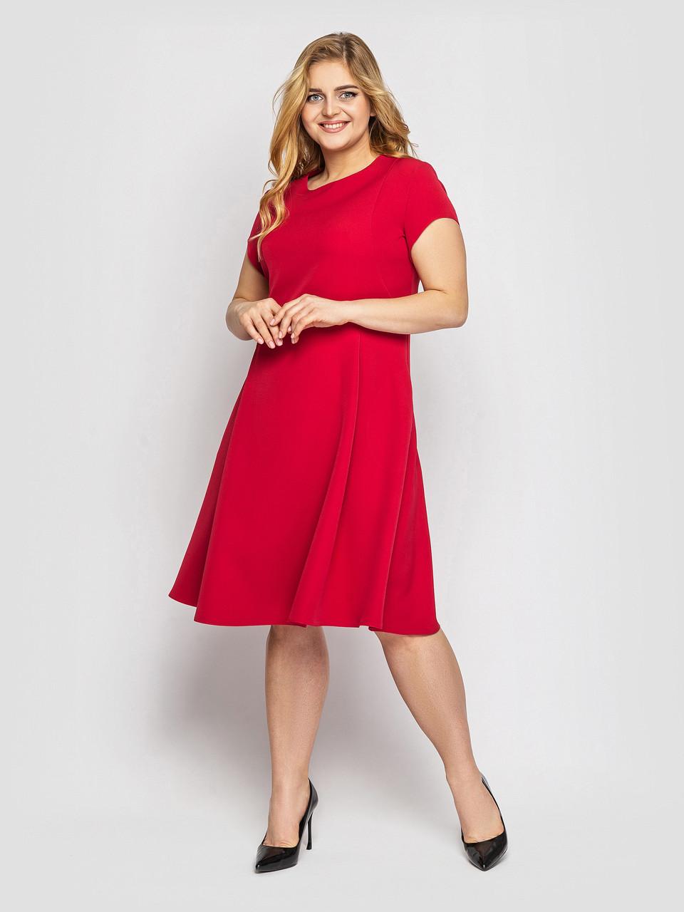 Красивое батальное красное платье с карманами 48,50,52,54,56,58 размер