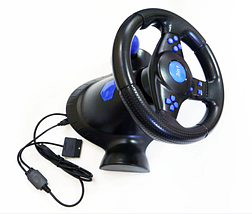 Джойстик ігровий кермо 3 В 1 Vibration Steering Wheel PS2/PS3/PC-USB з вібровіддачею Ігровий спортивний кермо, фото 3
