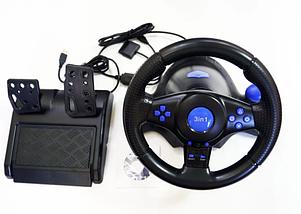 Джойстик ігровий кермо 3 В 1 Vibration Steering Wheel PS2/PS3/PC-USB з вібровіддачею Ігровий спортивний кермо, фото 2