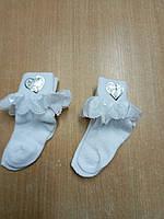 Носочки детские, р. 1, тонкий трикотаж. белые с кружевом.