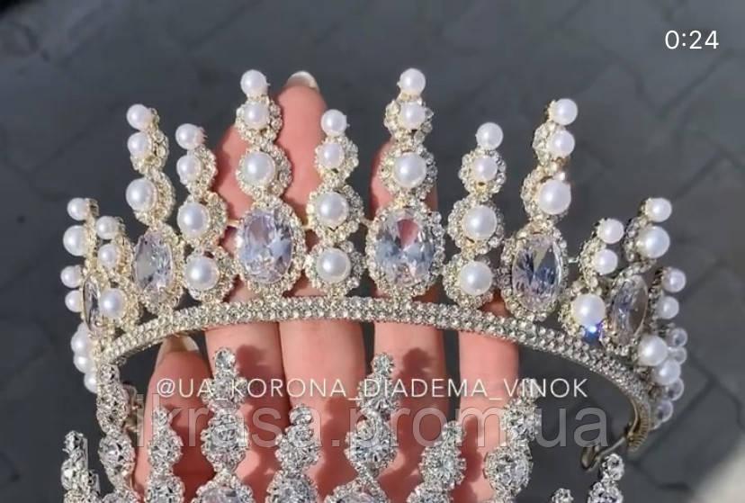 Lux Розкішна діадема з ювелірними діамантами цирконами перлинами та світле мед золото (7cм)