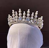 Lux Розкішна діадема з ювелірними діамантами цирконами перлинами та світле мед золото (7cм), фото 3