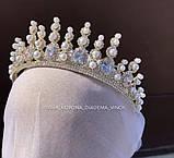 Lux Розкішна діадема з ювелірними діамантами цирконами перлинами та світле мед золото (7cм), фото 4