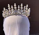 Lux Розкішна діадема з ювелірними діамантами цирконами перлинами та світле мед золото (7cм), фото 5