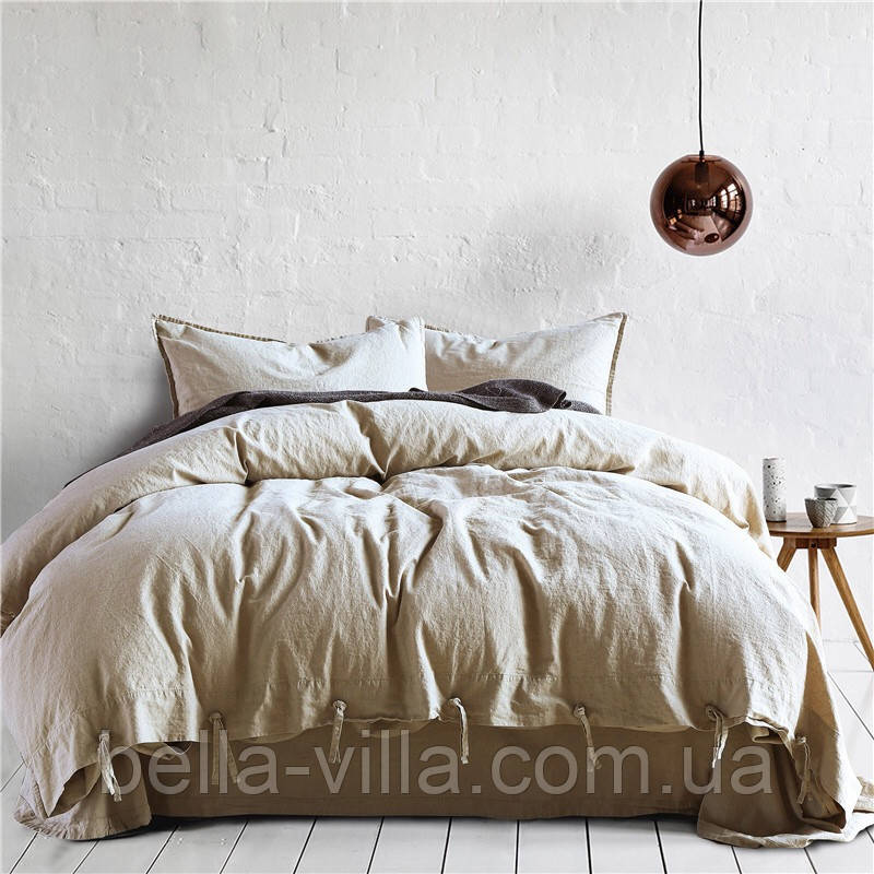 Постельное белье Bella Villa из вареного хлопка бежевый