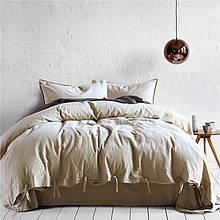 Постільна білизна Bella Villa з вареного бавовни бежевого кольору