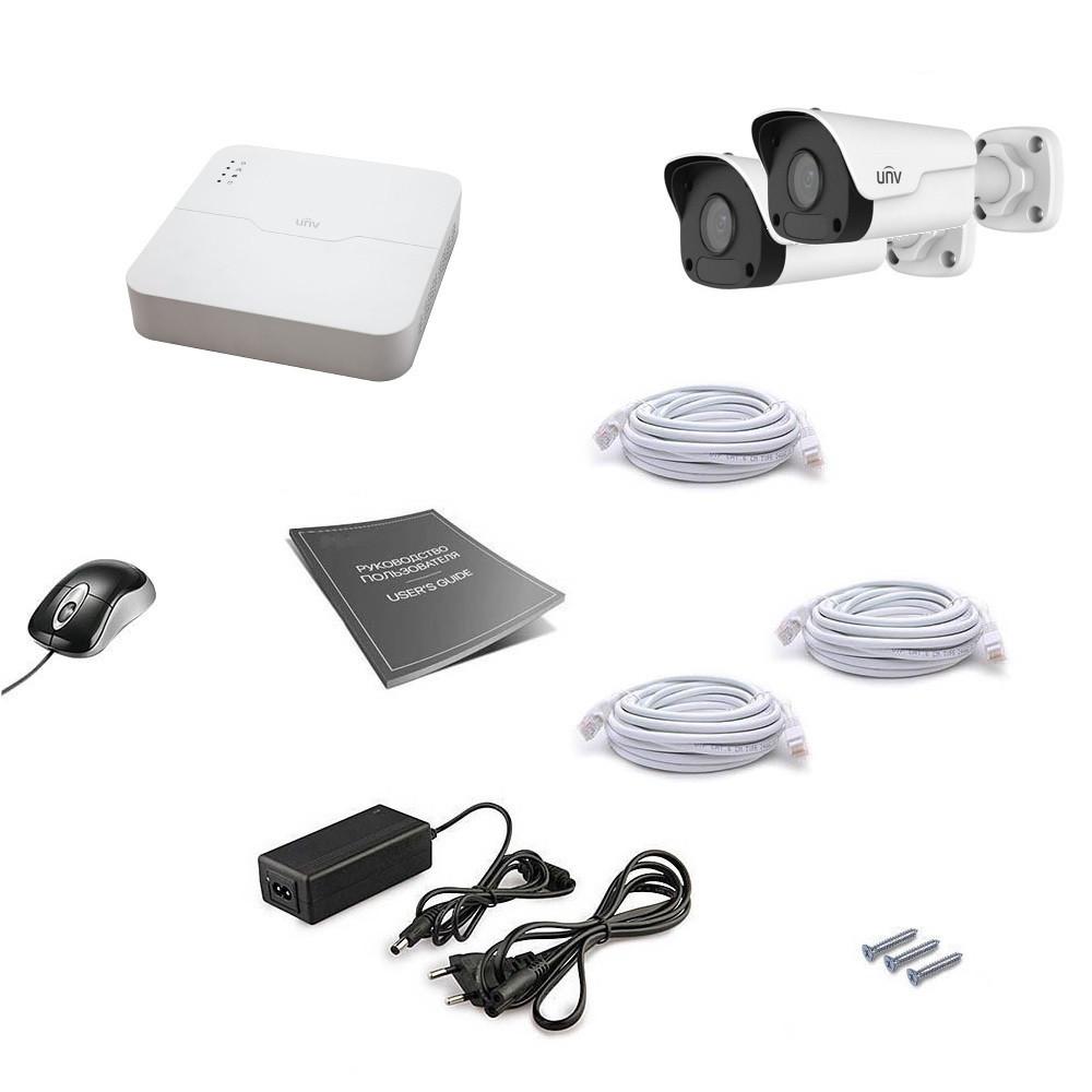 2 канальный комплект IP видеонаблюдения Uniview 2OUT 2MEGA