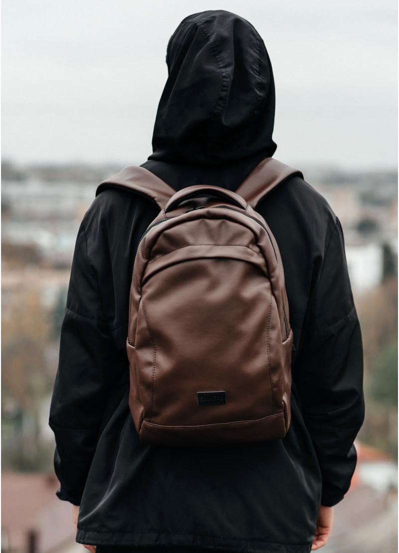 Подростковый рюкзак мужской для парня подростка старшеклассника, студента матовая эко-кожа коричневый
