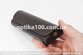 Кожаный темно-коричневый футляр для очков. Натуральная кожа, фото 2