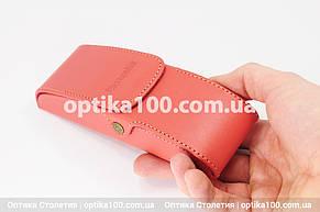 Шкіряний морквяно-червоний футляр для окулярів. Натуральна шкіра, фото 2