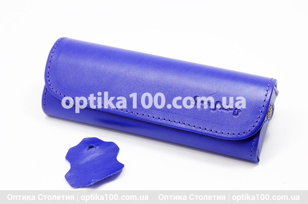 Шкіряний синій НЕОН футляр для окулярів. Натуральна шкіра