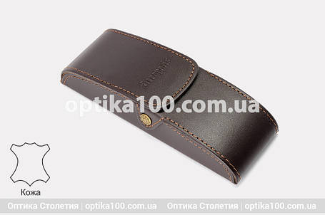 Кожаный коричневый вертикальный футляр для очков. Натуральная кожа, фото 2
