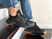 Кроссовки Nike Air Huarache черные с оранжевым, Найк Хуараче